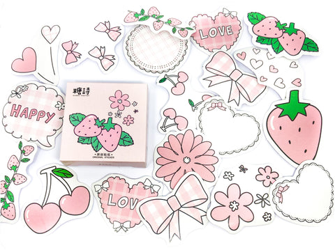 pretty in pink sticker flakes mini box of 45 stickers planner flake