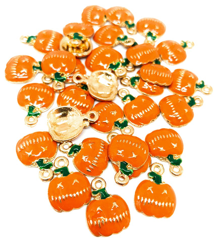 halloween enamel gold tone charm metal charms pumpkin pumpkins orange cute kawaii uk craft supplies