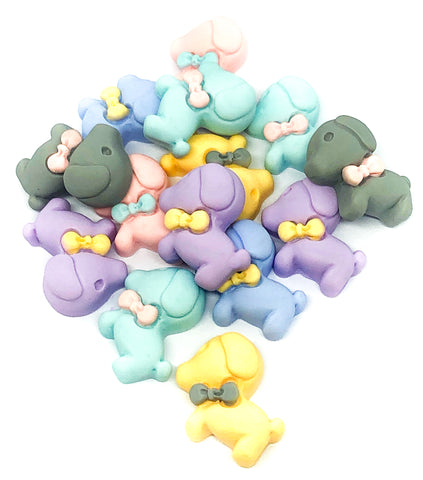 23mm resin puppy dog fb flat backs pastel puppies