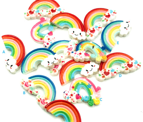 rainbow resin fb flat backs embellishment rainbows cute kawaii craft supplies uk