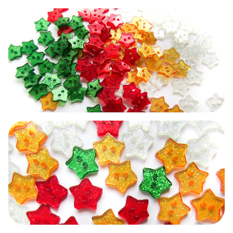 15mm resin glitter star stars buttons christmas button red green gold white sparkly
