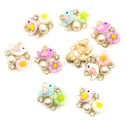 bird and pearl rhinestone enamel charms gold tone charm birds