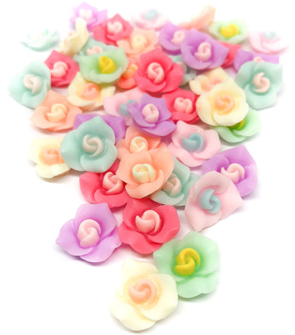Rose Resin 15mm Flat Backs Set of 10