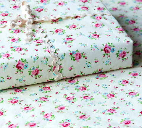 rose sprig patterned tissue paper 2 sheets sample large wrap wrapping paper pretty floral spring uk cute kawaii stationery packaging supplies vintage roses