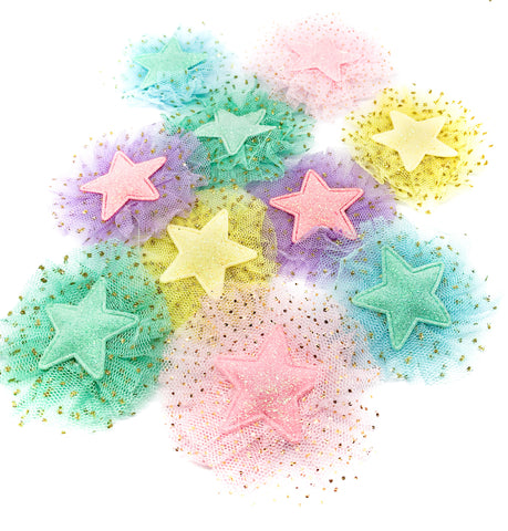 glitter ruffle net star fabric applique patch gold metallic polka dots patches stars