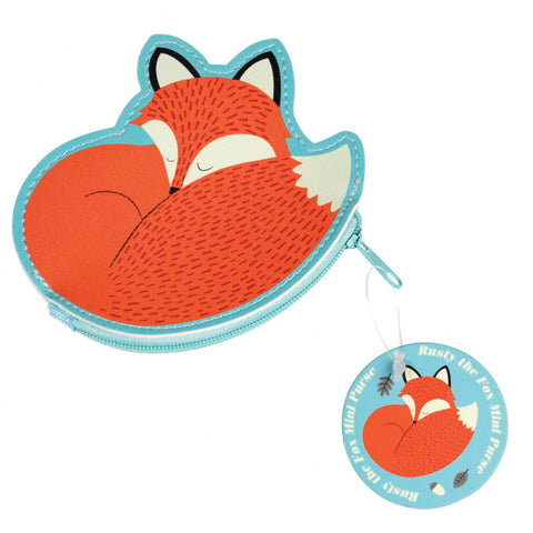 kawaii fox cute zip purse vinyl small kids childs purses uk gift gifts rusty blue red orange
