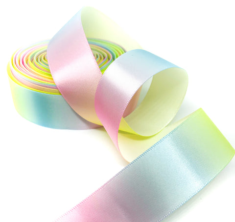 25mm wide satin pastel rainbow ombre ribbon one yard