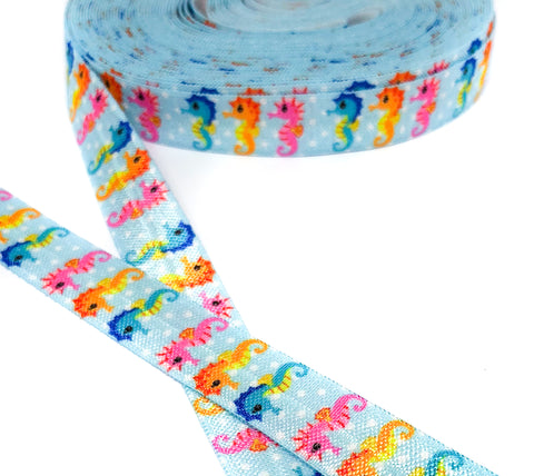 yard blue seahorse seahorses elastic foe ribbon 15mm wide