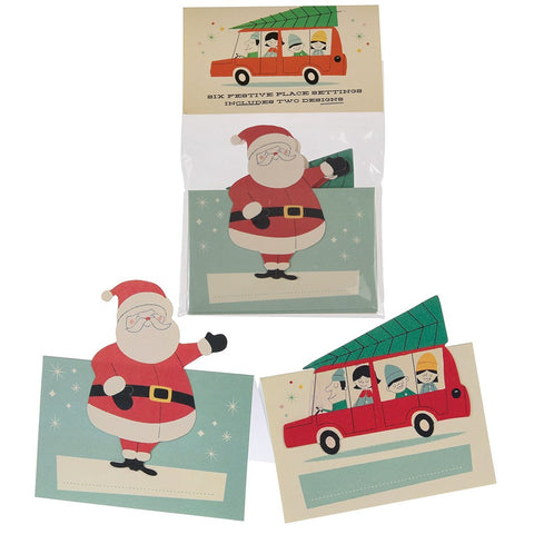 Six Festive Place Settings including Santa & Car