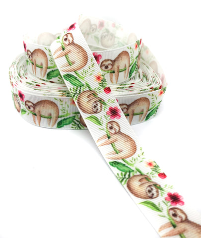 sloth sloths on white 22mm grosgrain ribbon one yard ribbons