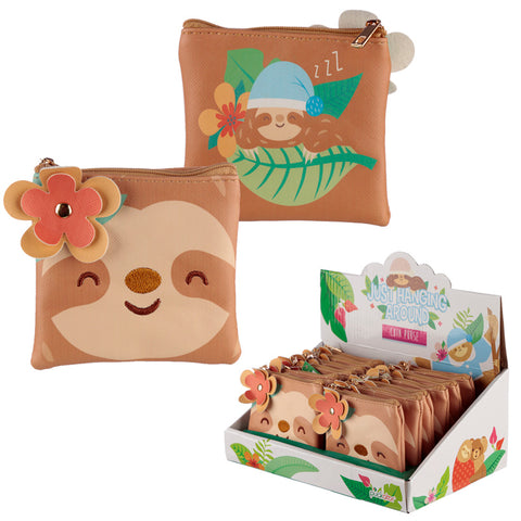 sleepy sloth cute mini coin purse zip purses sloths flower uk kawaii gift gifts pouch stocking fillers