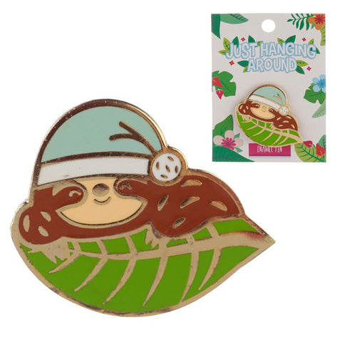 enamel pin badge brooch cute sloth sloths sleepy leaf green blue uk gift gifts gold metal pins brooches brooch