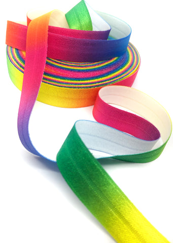 rainbow ombre bright graduated foe elastic ribbon 16mm wide