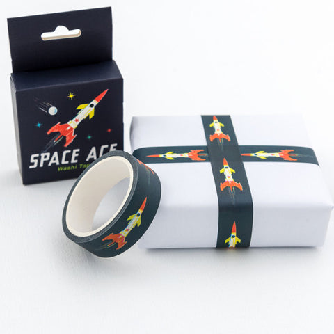 space age washi tape cute box boxed rocket black red and yellow galaxy theme stars universe uk washi tapes stationery