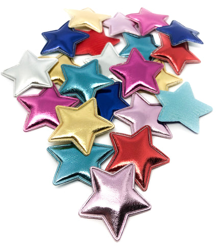 metallic star stars applique patches padded 7 colours 35mm fabric patch