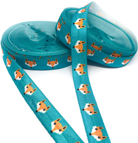 teal fox foxes fold over elastic foe ribbon one yard 15mm wide
