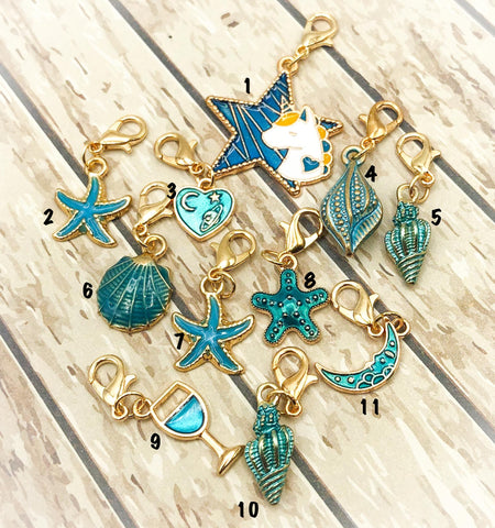teal and turquoise planner charm charms clip clips stitch marker markers blue enamel gold tone metal uk kawaii cute gift gifts planning accessories