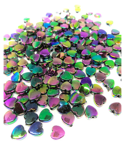 dark rainbow ab iridescent oil on water heart acrylic 8mm beads uk cute kawaii pretty craft supplies
