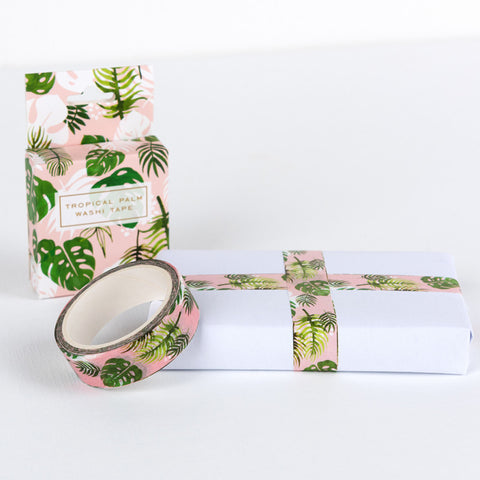 tropical palm palms leaves washi tape tapes pink green leaf  uk cute kawaii wrap packing supplies