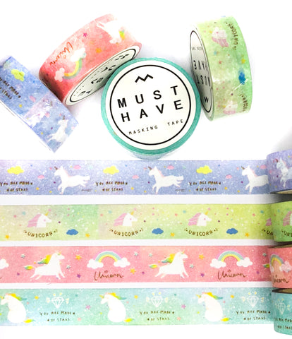 unicorn 5m wash tape roll unicorns pink blue turquoise green tapes