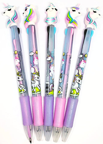 unicorn topper 3 in 1 ballpoint pen pens unicorns pink lilac