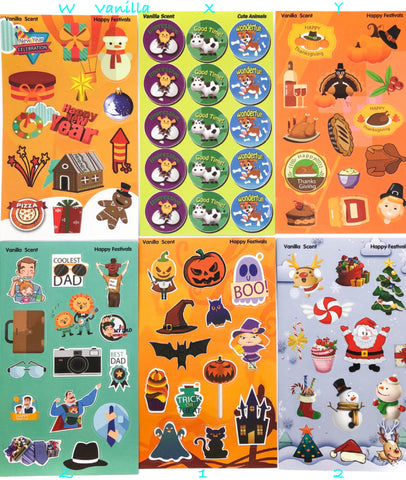 Scented Scratch and Sniff Stickers -36 Designs