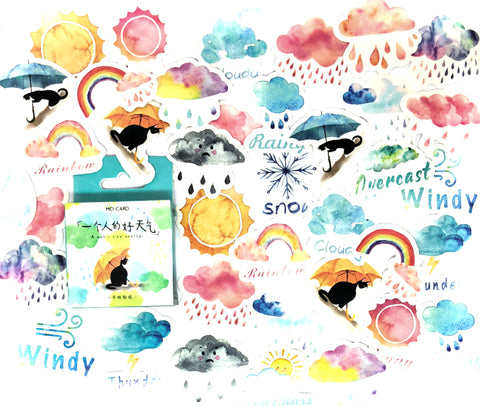 weather cat mini sticker flake box of 46 stickers cats sun rain clouds