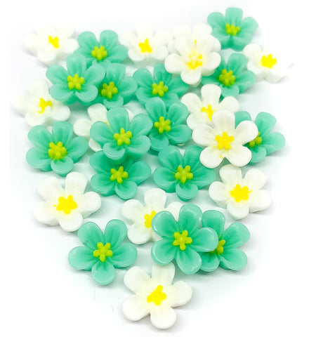 13mm white and turquoise resin flower fb flat back flowers