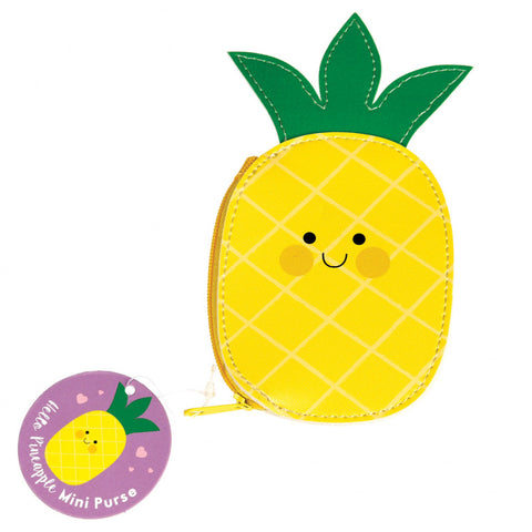 happy kawaii pineapple cute zip vinyl kids small coin purse yellow mini small purses uk cute gift gifts