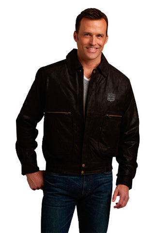 Burk's Bay Dark Brown Brushed Bomber - NFL Alumni Store