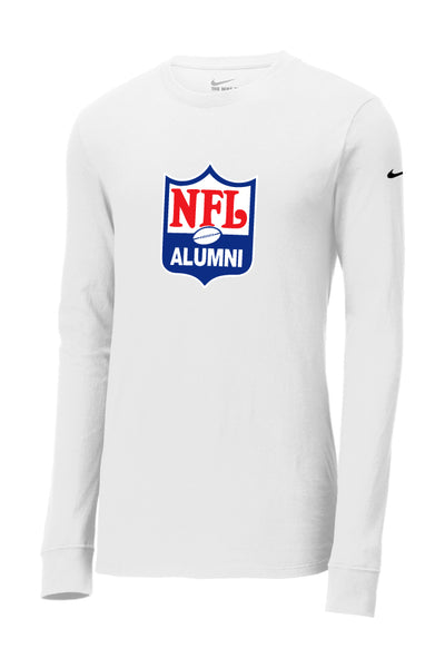 Nike Core Cotton Long Sleeve - NFLA Shield Design White Tee - NFL Alumni Store