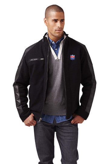 Burk's Bay Wool & Leather Black Driving Jacket - NFL Alumni Store