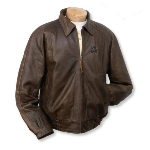 Burk's Bay Distressed Classic Brown Leather Jacket - NFL Alumni Store