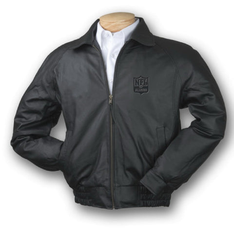 Burk's Bay Napa Classic Black Leather Jacket - NFL Alumni Store