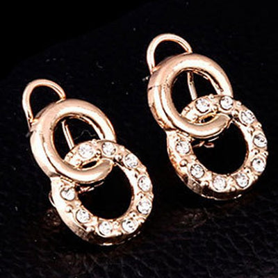 Chic Rhinestone Annulus Necklace Bracelet Ring and A Pair of Earrings
