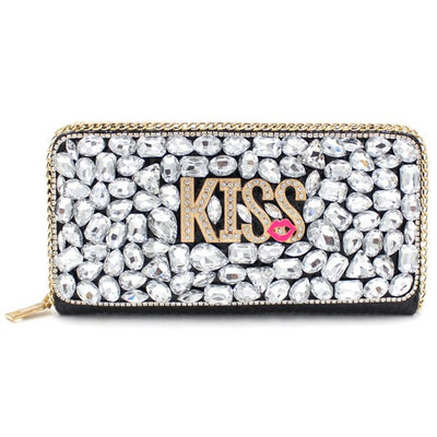 Trendy Letter and Rhinestone Design Evening Bag