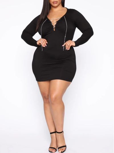 PLUS SIZE DRESS SEXY V NECK BANDAGE BLACK