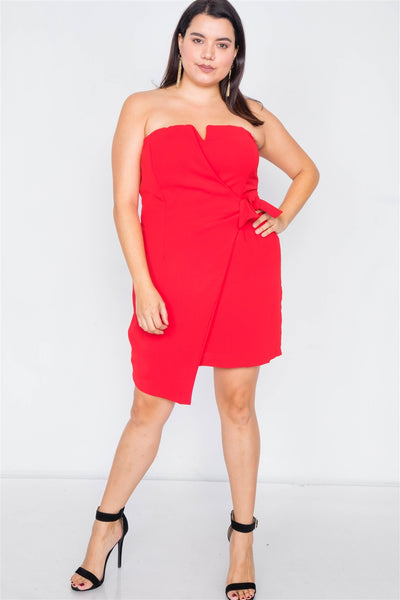 Plus Size Sleeveless Mock Wrap Mini Chic Dress