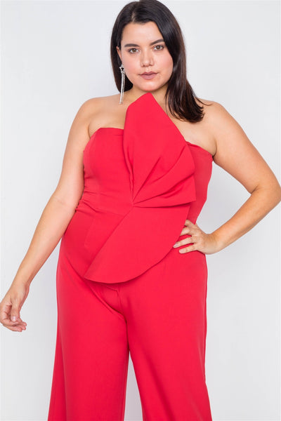 Plus Size Tailored Frill Wide Leg Sleeveless Cocktail Jumpsuit