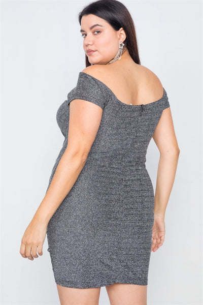 Plus Size Ruched Draw String Center Mini Glitter Dress CV11110