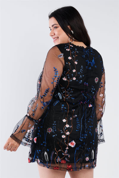 Multi-colored Floral Embroidery Sheer Mini Dress CV1515