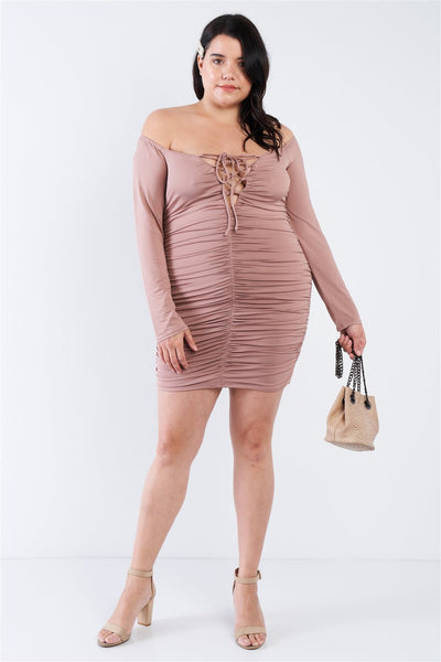 Off The Shoulder Lace Up Ruched Mini Dress CS2110
