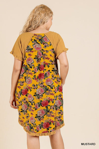 Short Sleeve Round Neck Dress With Floral Print Back And High Low Scoop Ruffle Hem