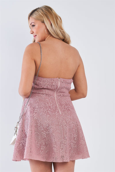 Plus Size Floral Lace Strapless Fit & Flare Mini Dress