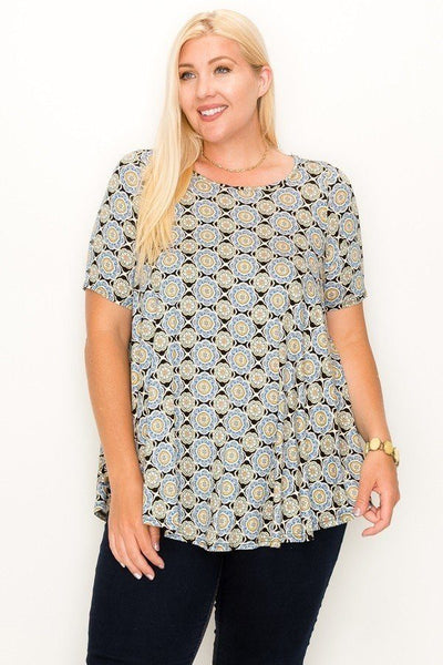 Plus Size Multi Print Tunic Top