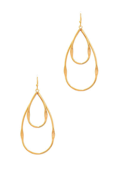 Fashion Double Tear Drop Out Line Earring