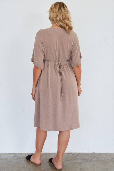 Comfy Mocha Fleece Short Sleeve Knee Length Button Up Dress