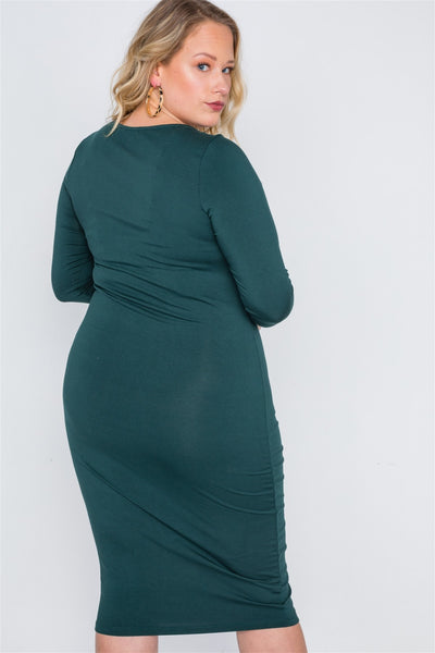 Plus Size Green Basic Long Sleeve Midi Dress