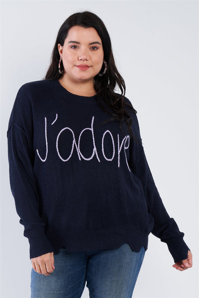 """J'adore"" Script Knit Relaxed Fit Sweater CV6010"