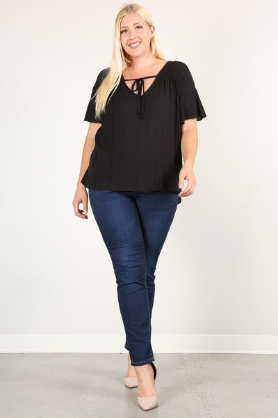 Plus Size Solid Top With A Necktie, Pleated Detail, And Flutter Sleeves CV08211